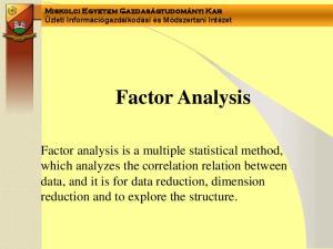 Miskolci Egyetem Gazdaságtudományi Kar Üzleti Információgazdálkodási és Módszertani Intézet Factor Analysis