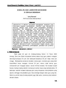 MODEL APLIKASI LABORATORIUM EKONOMI DI SEKOLAH MENENGAH. Leny Noviani FKIP Universitas Sebelas Maret