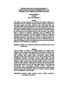 MODEL KEPATUHAN PAJAK SUKARELA: PERAN DENDA, KEADILAN PROSEDURAL, DAN KEPERCAYAAN TERHADAP OTORITAS PAJAK. DWI RATMONO FAISAL Universitas Diponegoro