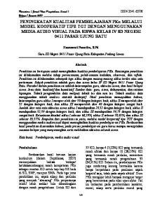 MODEL KOOPERATIF TIPE TGT DENGAN MENGGUNAKAN MEDIA AUDIO VISUAL PADA SISWA KELAS IV SD NEGERI 0411 PASAR UJUNG BATU