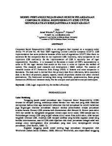 MODEL PERTANGGUNGJAWABAN HUKUM PELAKSANAAN CORPORATE SOSIAL RESPONSIBILITY (CSR) UNTUK MENINGKATKAN KESEJAHTERAAN MASYARAKAT