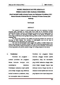 MODEL PROGRAM DAN PELAKSANAAN PERKULIAHAN MKU BAHASA INDONESIA