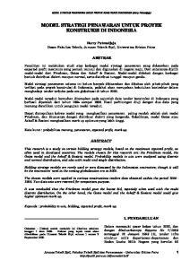 MODEL STRATEGI PENAWARAN UNTUK PROYEK KONSTRUKSI DI INDONESIA