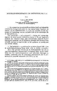 MODELLENBESCHERMING IN ONTWIKKELING? (I) door. Ludovic DE GRYSE Advocaat Toegevoegd navorser bij het lnteruniversitair Centrum voor Rechtsvergelijking