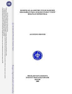 MODIFIKASI ALGORITME FUNGSI HASH MD5 DIDASARKAN PADA ANALISIS SYARAT CUKUP SERANGAN DIFERENSIAL AGUSTINUS SROYER