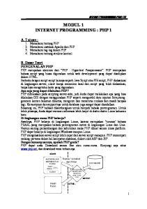 MODUL 1 INTERNET PROGRAMMING : PHP 1