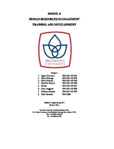 MODUL 8 HUMAN RESOURCES MANAGEMENT TRAINING AND DEVELOPMENT