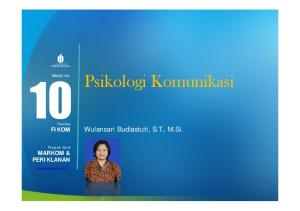 Modul ke: Psikologi Komunikasi. Fakultas FIKOM. Wulansari Budiastuti, S.T., M.Si. Program Studi MARKOM & PERIKLANAN
