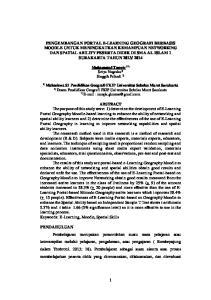 Muhammad Tanwir 1*) Setya Nugraha 2) Singgih Prihadi 2) Mahasiswa S1 Pendidikan Geografi FKIP Universitas Sebelas Maret Surakarta 2)
