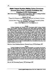 Multi-Criteria Decision Making Dalam Penentuan Jurusan Siswa Pada Lembaga Pendidikan dan Pelatihan (LPP) Penerbangan