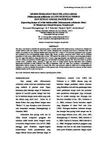MUSIM PEMIJAHAN IKAN PELANGI ARFAK (Melanotaenia arfakensis ALLEN) DI SUNGAI NIMBAI DAN SUNGAI AIMASI, MANOKWARI