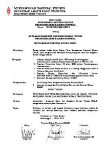 MUSYAWARAH NASIONAL KHUSUS ORGANISASI AMATIR RADIO INDONESIA TANAH BUMBU, KALSEL 07 JULI 2012