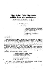 Nagy Pálné, Balog Emerencia hadikfalvi (garai) gyógyítóasszony