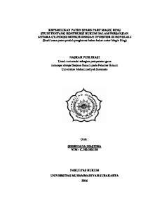 NASKAH PUBLIKASI Untuk memenuhi sebagian persyaratan guna mencapai derajat Sarjana Hukum pada Fakultas Hukum Universitas Muhammadiyah Surakarta
