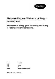Nationale Enquête 'Werken in de Zorg' - de resultaten