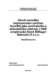 Návrh metodiky implementace systému benefitů jako motivačního a stimulačního nástroje v SME strojírenské firmě Bilfinger Babcock CZ s.r.o