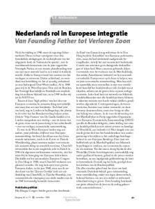 Nederlands rol in Europese integratie Van Founding Father tot Verloren Zoon