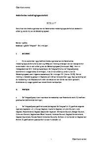 Nederlandse mededingingsautoriteit BESLUIT