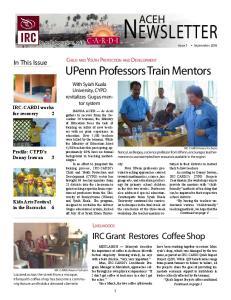 Newsletter. Livelihoods