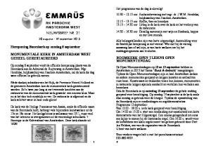 NIEUWSBRIEF NR. 21. Heropening Boomkerk op zondag 6 september MONUMENTALE KERK IN AMSTERDAM WEST GEHEEL GERESTAUREERD