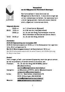 Nieuwsbrief van de Wijkgemeente Martinikerk Groningen