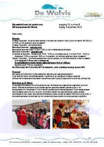 Nieuwsbrief voor de ouders van RK basisschool De Walvis. jaargang 13, nummer 8 vrijdag 3 december 2010