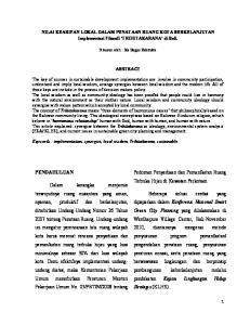 NILAI KEARIFAN LOKAL DALAM PENATAAN RUANG KOTA BERKELANJUTAN Implementasi Filosofi TRIHITAKARANA di Bali. Disusun oleh : Ida Bagus Rabindra ABSTRACT