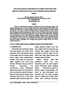 NILAI-NILAI BUDAYA BAHARI SULTAN AGENG TIRTAYASA ( ) PADA PENDIDIKAN NILAI DALAM PEMBELAJARAN SEJARAH LOKAL