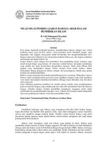 NILAI-NILAI PEMBELAJARAN BAHASA ARAB DALAM PENDIDIKAN ISLAM