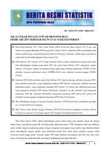 NILAI TUKAR PETANI (NTP) DI PROVINSI RIAU FEBRUARI 2017 SEBESAR 103,79 ATAU NAIK 0,83 PERSEN