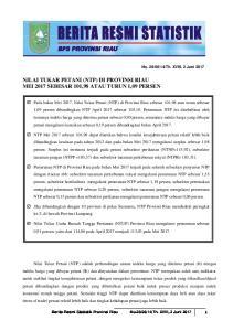 NILAI TUKAR PETANI (NTP) DI PROVINSI RIAU MEI 2017 SEBESAR 101,98 ATAU TURUN 1,09 PERSEN