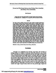 Norma dan Etika Sopan Santun antara Budaya Barat (Amerika) dan Budaya Timur (Indonesia)