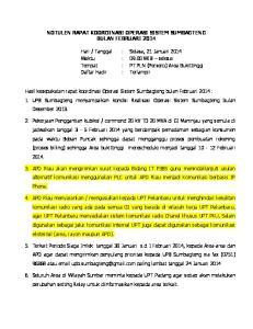 NOTULEN RAPAT KOORDINASI OPERASI SISTEM SUMBAGTENG BULAN FEBRUARI 2014
