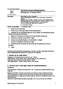 NOTULEN VAN DE GEMEENTERAAD Zitting van 27 maart 2012