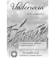 Nr. 09 ~ 2 oktober oktober: Hartelijke Herfstdienst In Zorgcentrum Foswert. Informatieblad van de Protestantse Gemeente Ferwert