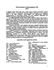 Numizmatikai irodalomjegyzék, XIX 2016