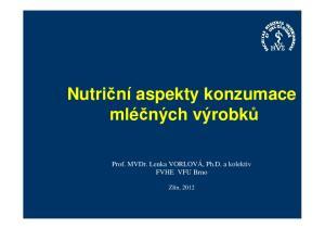 Nutriční aspekty konzumace mléčných výrobků