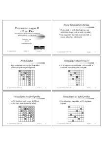 Nyolc királynő probléma. Programozás alapjai II. (13. ea) C++ visszalépéses (backtrack) algoritmusok táblás játékok, összefoglalás