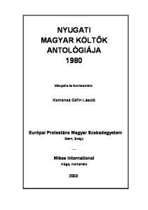 NYUGATI MAGYAR KÖLTŐK ANTOLÓGIÁJA 1980 - PDF Free Download 8a4b46ff3e