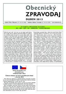 Obecnický ZPRAVODAJ DUBEN Účelová dotace na krytí povodňových škod z června 2013
