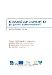 Obsah. Metodický list Metodický list Metodický list Metodický list
