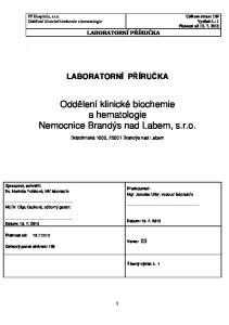 Oddělení klinické biochemie a hematologie Nemocnice Brandýs nad Labem, s.r.o