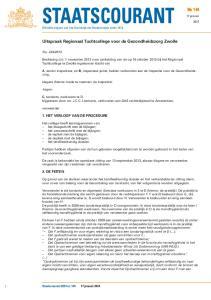 Officiële uitgave van het Koninkrijk der Nederlanden sinds Uitspraak Regionaal Tuchtcollege voor de Gezondheidszorg Zwolle