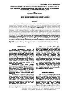 Oleh: Agus Arifin 1) dan Oke Setiarso 2) Fakultas Ekonomi Universitas Jenderal Soedirman, Purwokerto ABSTRACT