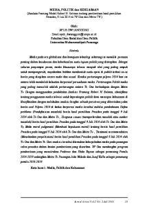 Oleh: AYUB DWI ANGGORO Fakultas Ilmu Sosial dan Ilmu Politik Universitas Muhammadiyah Ponorogo