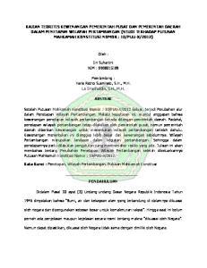Oleh : Iin Suhartini NIM : Pembimbing : Haris Retno Susmiyati, S.H., M.H. La SYarifuddin, S.H., M.H. ABSTRAK