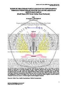 Oleh: MUBARAT DEONESIUS NIM. E Program Studi Ilmu Politik Fakultas Ilmu Sosial dan Ilmu Politik Universitas Tanjungpura Pontianak Tahun 2016