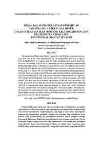 Oleh: Rossy Lambelanova 1 dan Muhammad Buyung Ramadhan ABSTRACT. Keywords: role of BPPKB; family planning program; qualified family ABSTRAK