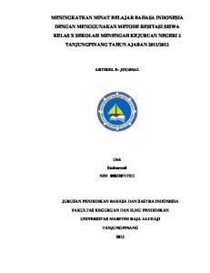 Oleh. Susinawati NIM PENDIDIKAN BAHASA DAN SASTRA INDONESIA JURUSAN FAKULTAS KEGURUAN DAN ILMU PENDIDIKAN