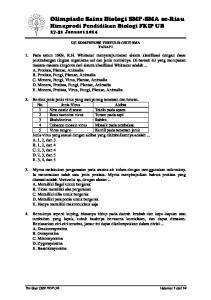 Olimpiade Sains Biologi SMP-SMA se-riau Himaprodi Pendidikan Biologi FKIP UR Januari 2014
